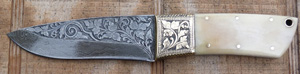 Image for Engraved Damascus Knife with Bone Hilt.