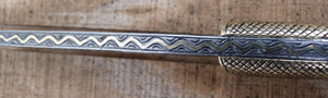 Image for Engraved Damascus Knife with Brass Inlaid Bone Hilt.