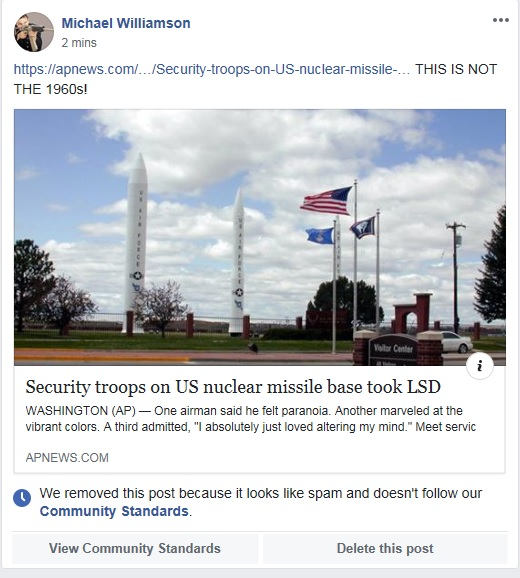 /></p><p>I can't even guess what this one is about.</p><p>My wife, an IT security professional, notes that she stops getting notifications about my posts about 24 hours before these things happen.</p><p>I have several stalkers, and at least one of them works for Fecesbook in an administrative capacity. They've even blocked me from asking for review:</p><p><img src=